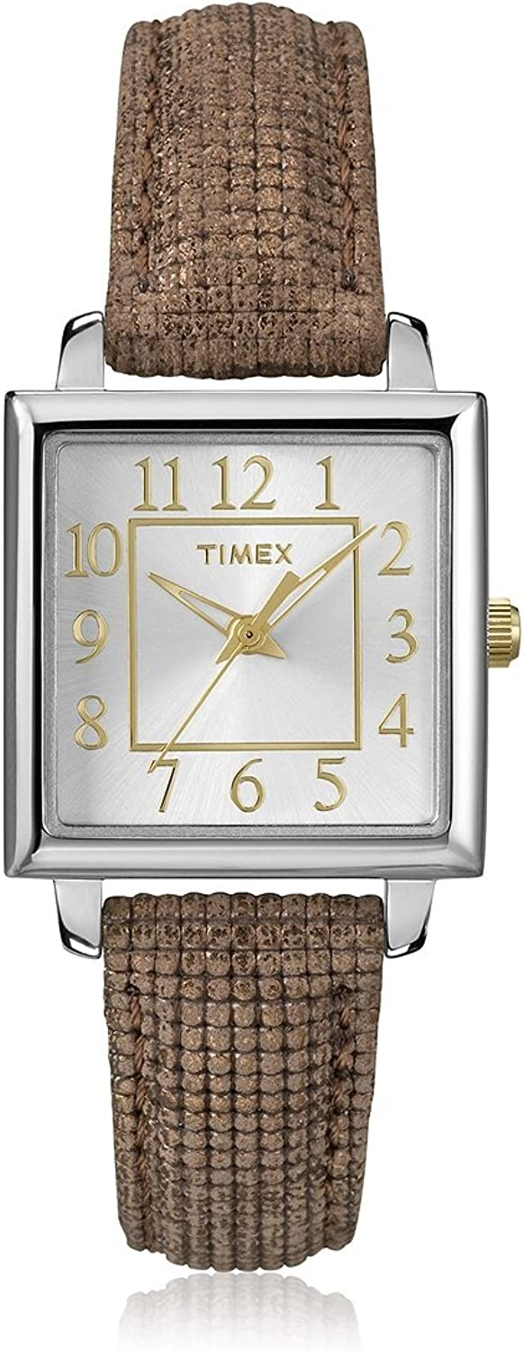 Timex Women s T2P312 Brown Silver Leather Watch