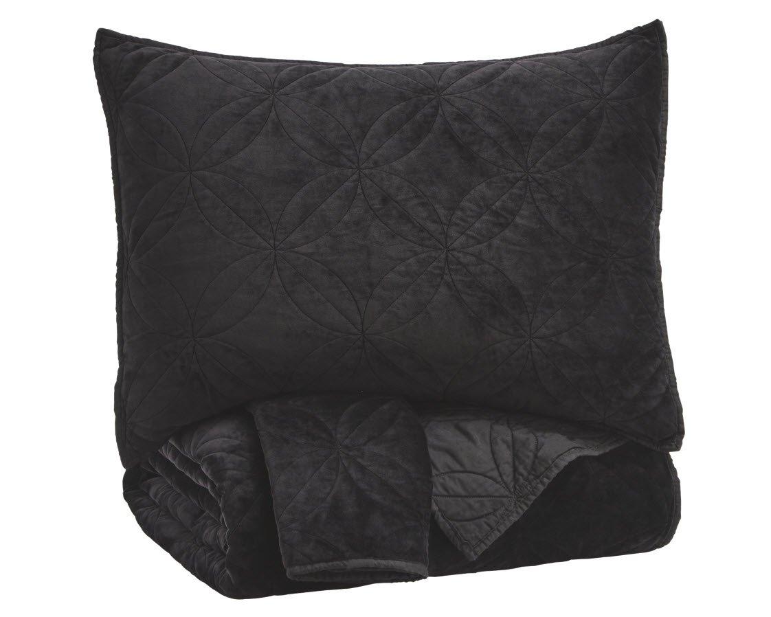 Signature Design by Ashley Linette King Quilt Set, Black Ashley Furniture Q417023K