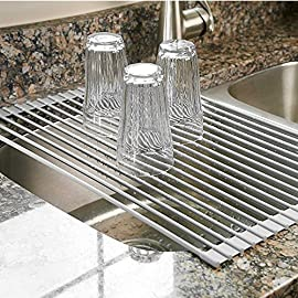 "Surpahs Over the Sink Multipurpose Roll-Up Dish Drying Rack 39 Multipurpose space-saving over the sink drying rack, kitchen prep work platform, heat resistant trivet mat. Size: 20-1/2""L x 13-1/8""W x 1/4""H (52 cm x 33.3 cm x 0.6 cm). Constructed from durable, non-slip, silicone-coated steel."