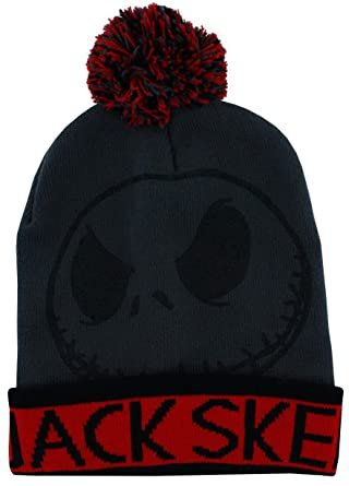 10f44d0e440fb Amazon.com  Grey and Red Jack Skellington Adult Size Pom Beanie ...