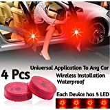 Bulfyss (2pairs 4pcs) Waterproof 5 LED Wireless Car Door Warning Open Lights Indicator Decor Interior Flash Magnetic Car Led Lights for Anti Rear-End(RED) Free Batteries (2 Pair 4 pcs)