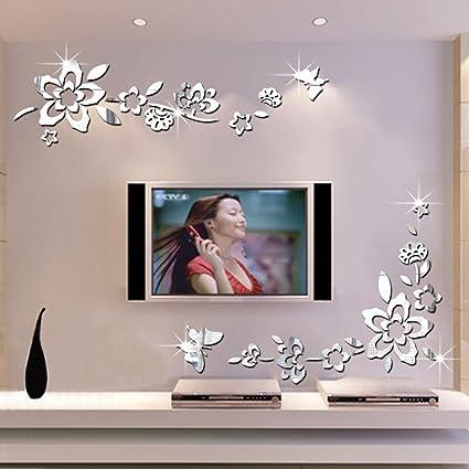 Amazon.com: Modern Creative Diagonal Flower Vine Butterfly Acrylic ...