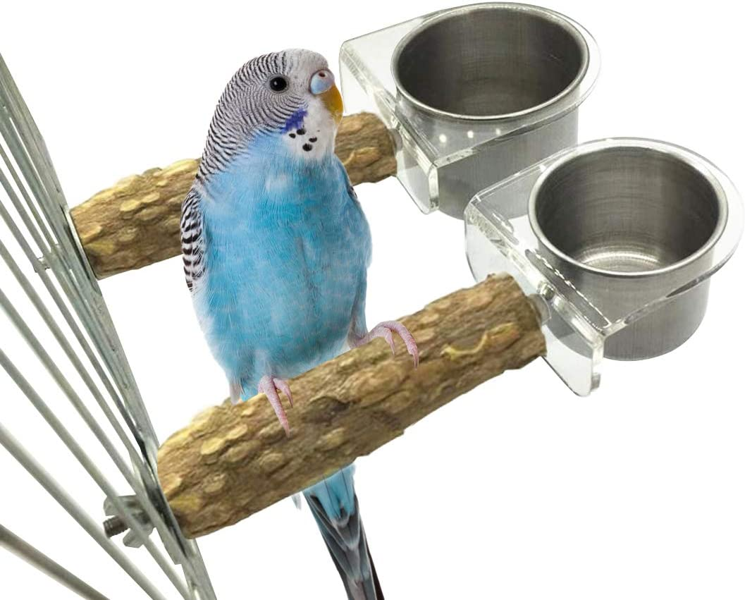 Tfwadmx Bird Feeding Cups for Cage,2 Pack Stainless Steel Hanging Parrot Food Bowl Water Dish with Wood Stand Perch Clamp Holder for Parakeet Conure Cockatiels Lovebird Budgie.