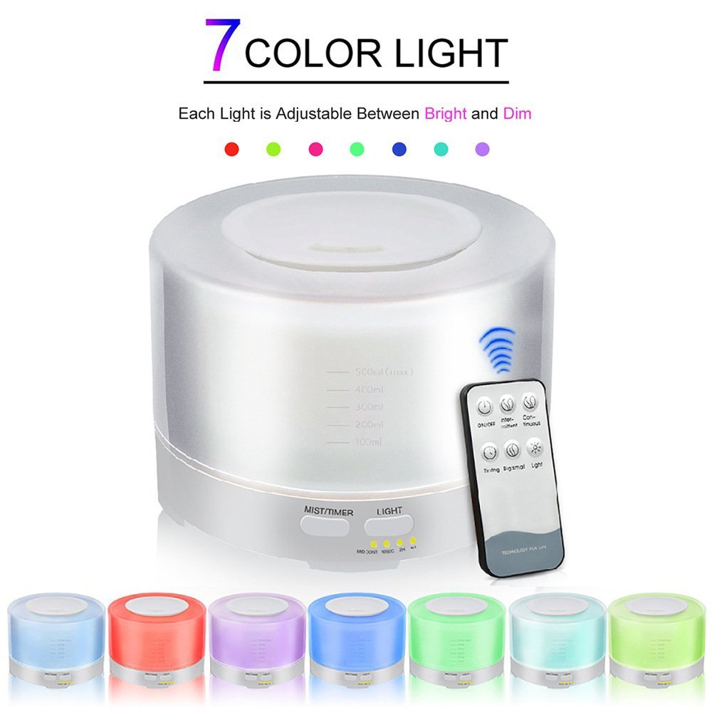 Aromatherapy Essential Oil Diffuser Cool Mist Humidifier Ultrasonic LED Light Changing Colors Remote Control Perfect For Home,Office,Living Room,Spa,Car,Yellow by L&X (Image #3)