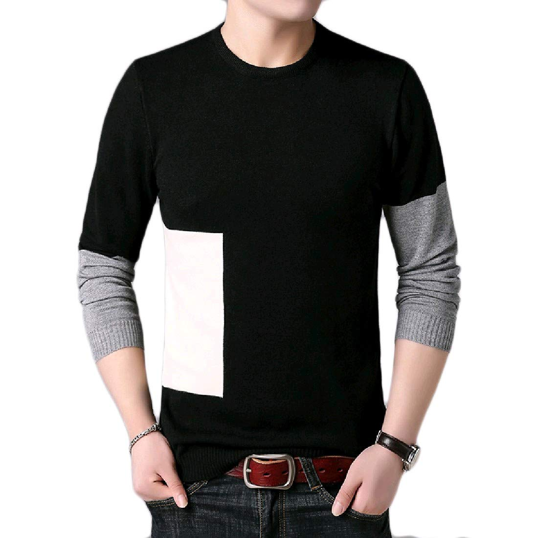 YUNY Mens Crewneck Leisure Business Oversize Pullovers Sweater 15 M