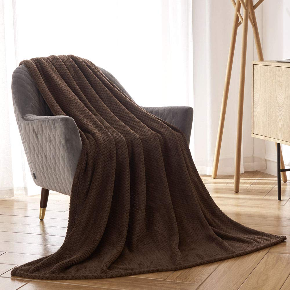 CAI TENG Flannel Fleece Blanket Super Soft Warm Cozy Bed Blanket Plush Lightweight Sofa Throw Blanket (Chocolate Brown, Twin Size 50 x 60 Inches)
