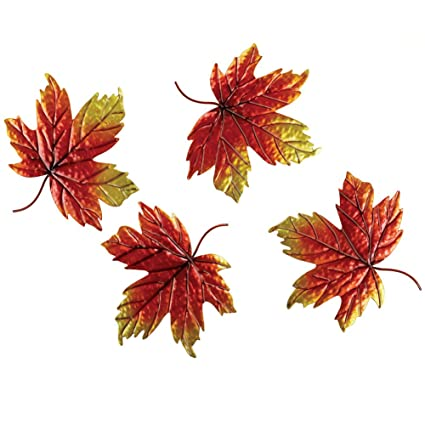 Amazon.com : Collections Etc Metal Autumn Leaves Wall Decor - Set Of ...