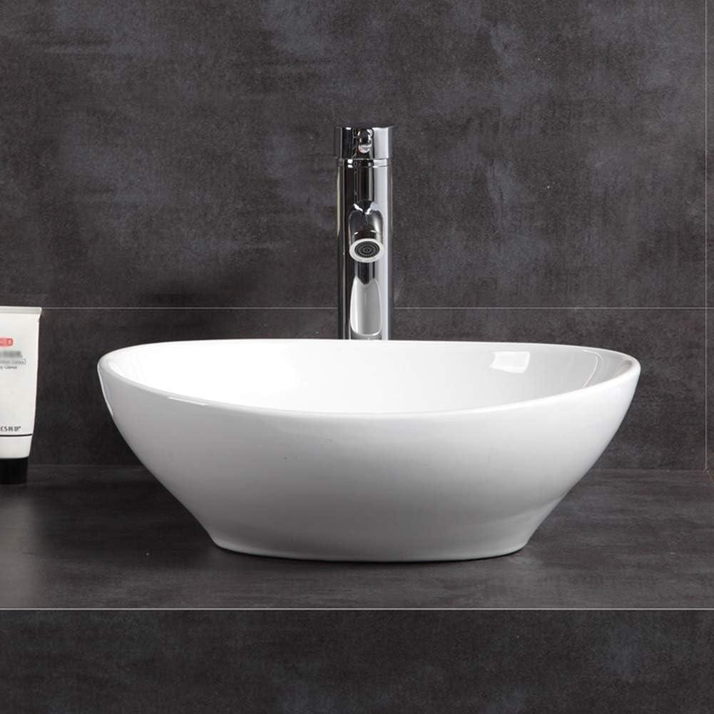 Moderno lavabo ovalado de cer/ámica para encimera 400 x 330 x 145 mm lavabo de ba/ño