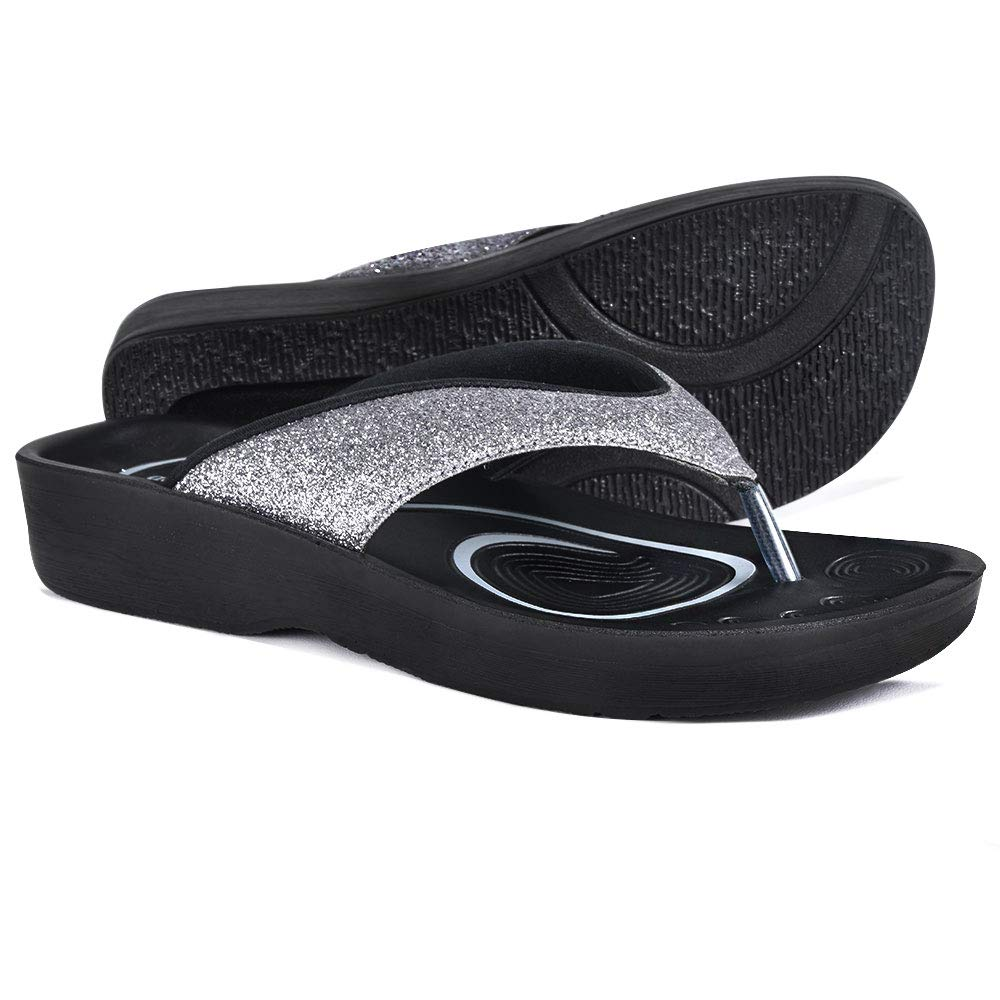 AEROTHOTIC Original Orthotic Comfort Thong Sandal and Flip Flops with Arch Support for Comfortable Walk (US Women 6, Crystal Grey)