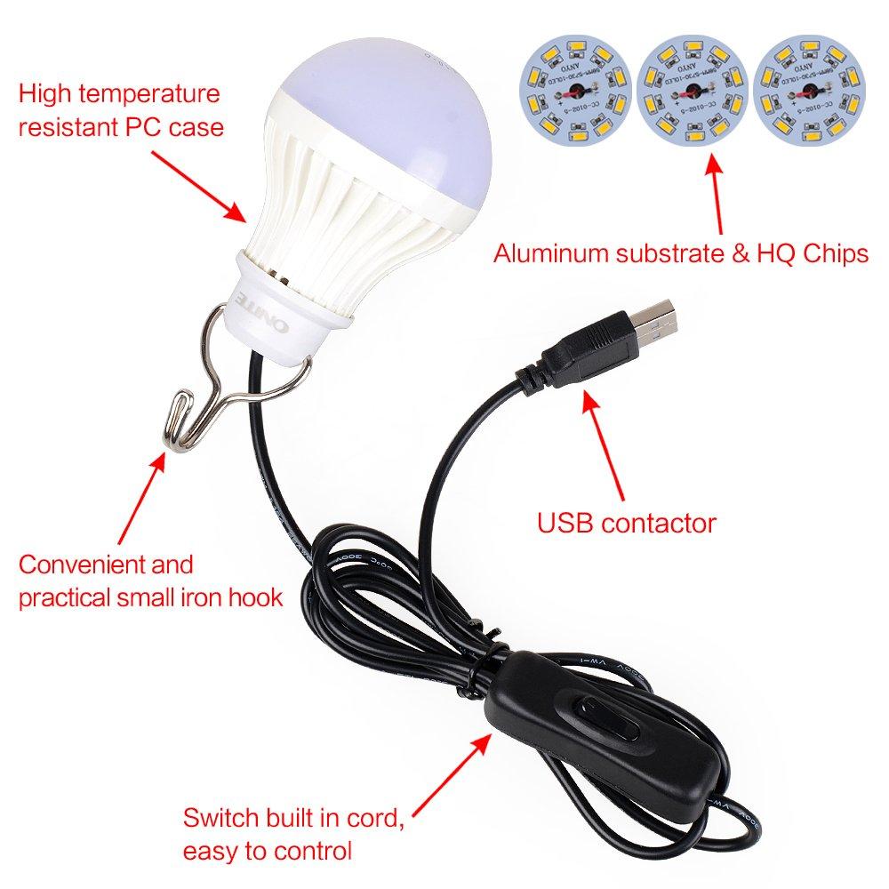 Warmwei/ß Onite 2.5M tragbar USB LED Light camping Lampe zeltlampe Beleuchtung Licht Taschenlampe