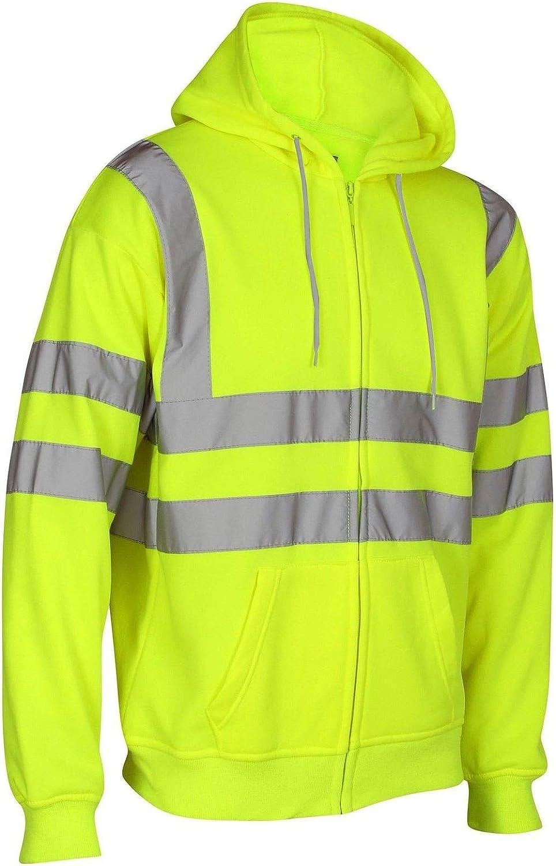 janisramone Mens Boys New Hi Vis Visibility Fleece Viz Reflective Safety Work Wear Sweatshirt Hoodie Jacket