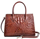 PIJUSHI Women Handbags Top Handle Satchel Leather Tote Bags for Ladies (8890 Brown Croco)