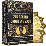 Under Eye Collagen Patch, 24K Gold Anti-Aging Mask, Treatment Pads for Puffy Eyes & Bags, Dark Circles and Wrinkles, with Hyaluronic Acid, Hydrogel, Deep Moisturizing Improves elasticity, 24 Pairs