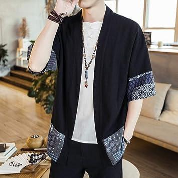 CHENS Camisa/Casual/Unisex/Camisa Kimono XXL para Hombre Camisa Kimono Vintage Streetwear para Hombre Camisa Cardigan Kimono para Hombre de Lino Hombre Tallas Grandes: Amazon.es: Deportes y aire libre