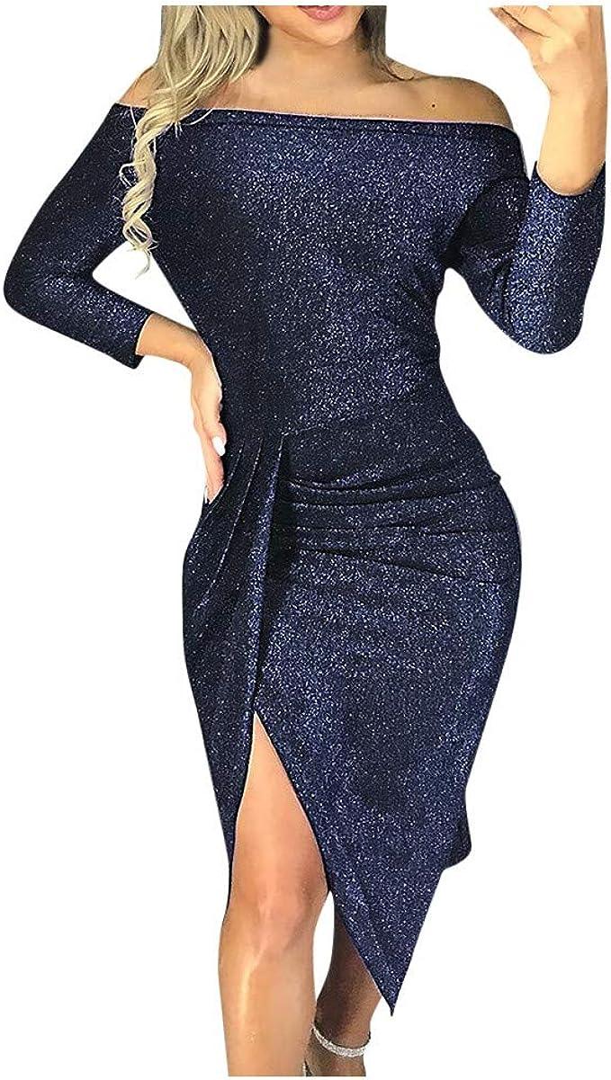 Bumplebee Glitzer Partykleid Damen Abendkleider Elegante Kurz