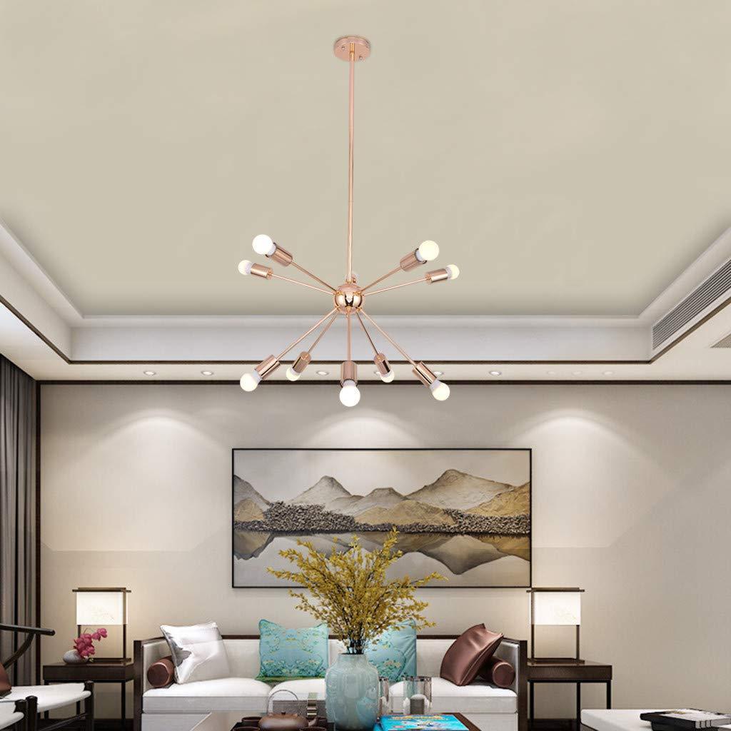 cnnIUHA 10 Lights Sputnik Chandelier Brushed Brass Modern Pendant Lighting Gold,Pendant Living Room Lighting for Dining Living Room Bedroom Hallway Entry(Shipped from USA)