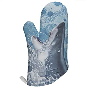 Hungry Great White Shark Breaching All Over Oven Mitt Multi Standard One Size