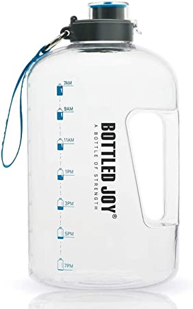 BOTTLED JOY Half Gallon Water Bottled, BPA Free 75oz Large Water Bottle Hydration with Motivational Time Mark Leak-Proof Drinking 2.2L Water Bottle for Camping Workouts and Outdoor