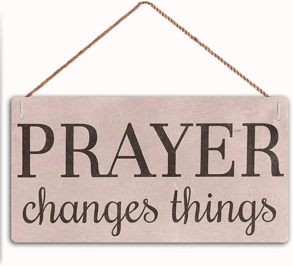 MAIYUAN Prayer Changes Things Sign Home Decor Wood Sign Plaque 12