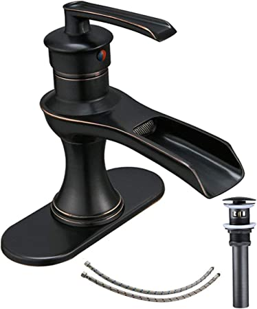 Homevacious Waterfall Oil Rubbed Bronze Bathroom Faucet With Pop Up Drain Supply Line With Sink Overflow Hole Sink Drains Bathroom Fixtures Fcteutonia05 De