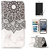 For ipod touch 5/touch 6 Case with Card Slot,OYIME [Colorful Painting Pattern] Relief Design Bookstyle Leather Wallet Holster Kickstand Function Full Body Protection Bumper Magnetic Closure Flip Cover with Wrist Lanyard and Screen Protector - Marble Mandala