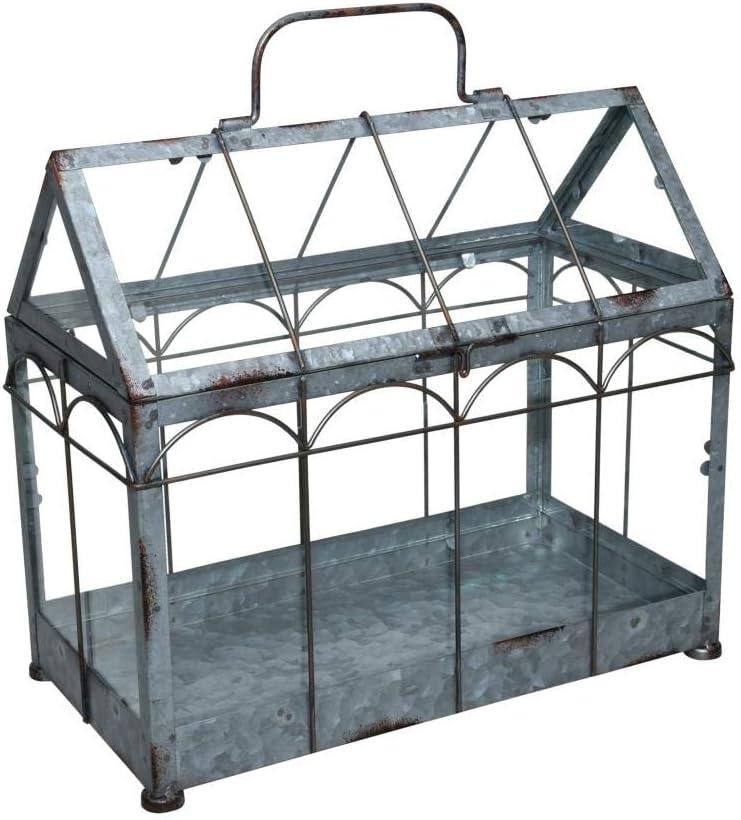 ESSCHERT DESIGN - Invernadero con Tapa con Cierre (tamaño M, 36 x 19 x 32,7 cm, Hierro y Cristal con asa, Patas Resistentes)