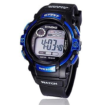 Tongshi multifunción Chico Fecha de Alarma de Cuarzo LED Digital de los  Deportes del Reloj Resistente al Agua (Azul)  Amazon.es  Deportes y aire  libre 6671b32330d9