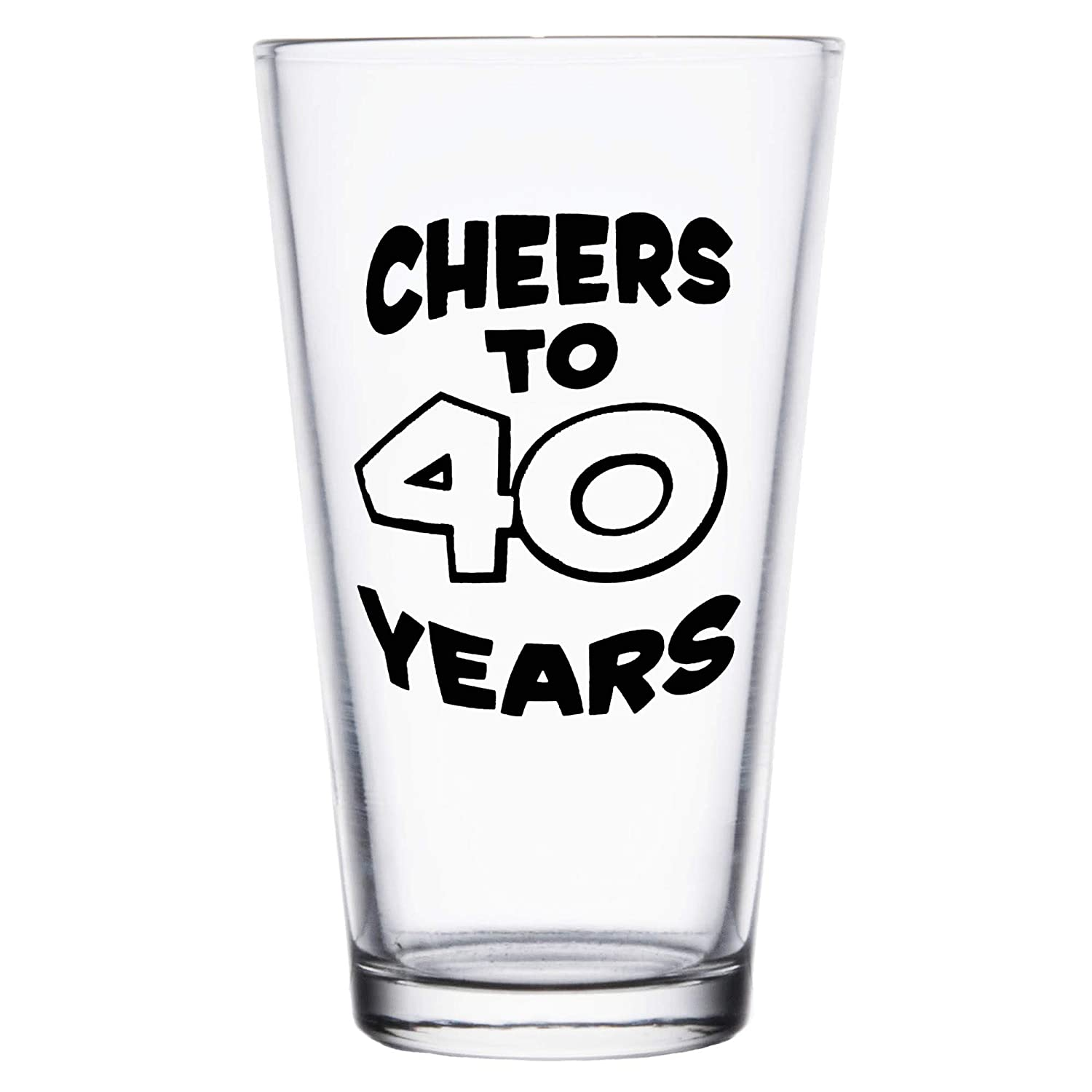 Shop4Ever Cheers To 40 Years Printed Beer Pint Glass ~ 40th Birthday Gift ~ (Black Print) BP_40YrsBLK