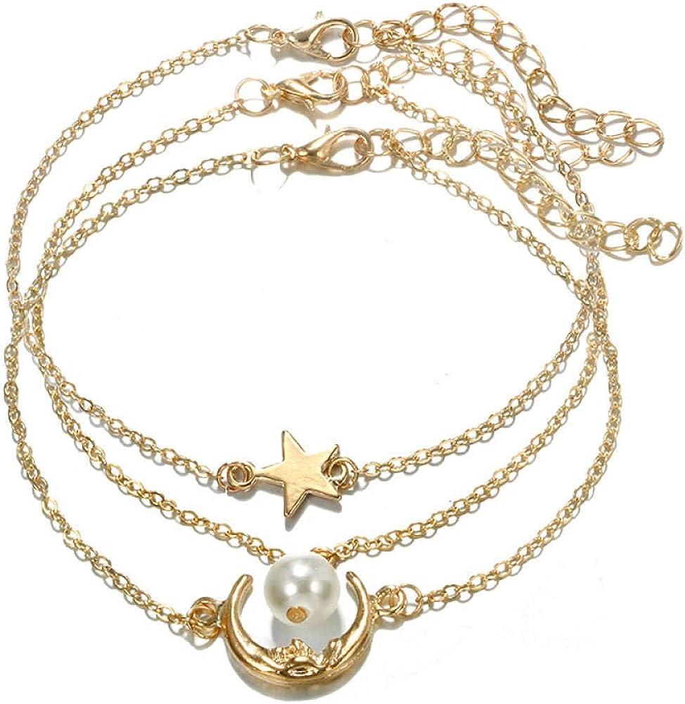 FGHOMEAQXL Pulsera de Tobillo Ajustable para niña Dorada Estrella Luna Colgante de Perla Blanca Conjunto de Tobillera para Mujer
