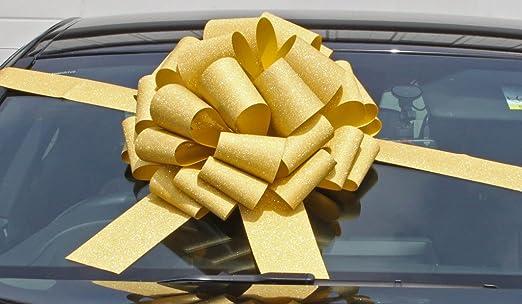 Lazo megagigante para coche (40 cm) + 6 metros de cinta para coches, bicicletas, gran cumpleaños y regalos de navidad; dorado brillante: Amazon.es: Hogar