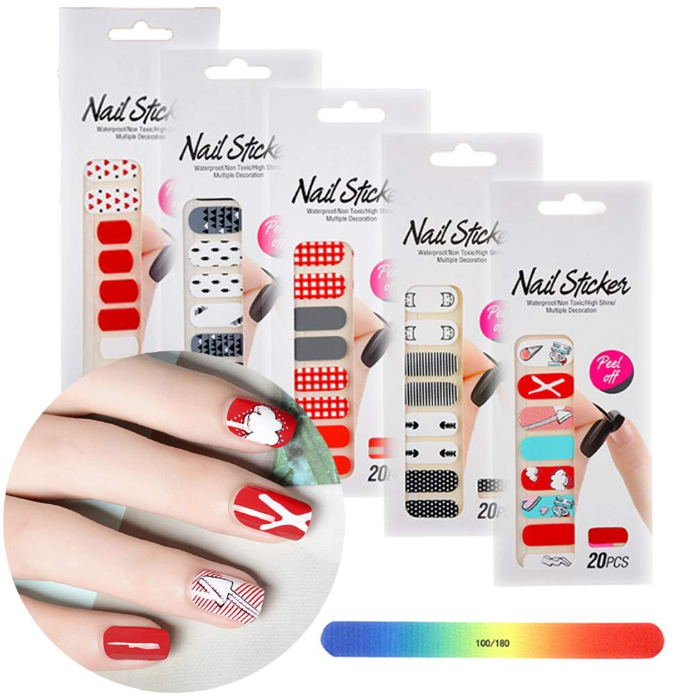 BornBeauty Red Nail Adhesive Stickers Set Cute Designs Nail Art Wraps for Women Fingers and Toes DIY Manicure Kits by BornBeauty
