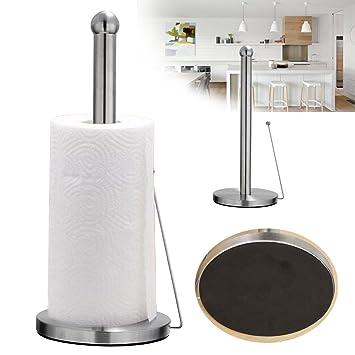 Independiente toalla de papel soporte para rollo de papel de cocina de acero inoxidable gancho con ventosa base: Amazon.es: Oficina y papelería