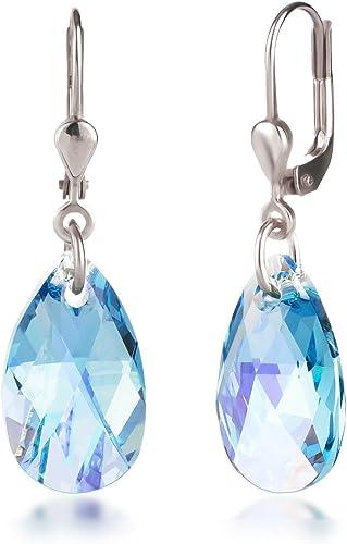 Schöner SD Ohrringe mit Swarovski® Kristall 925 Silber Tropfen hängend 16mm