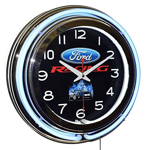 Ford Racing Blue Double Neon Clock Garage Man Cave Wall Decor (Ford Cobra Neon Clock)