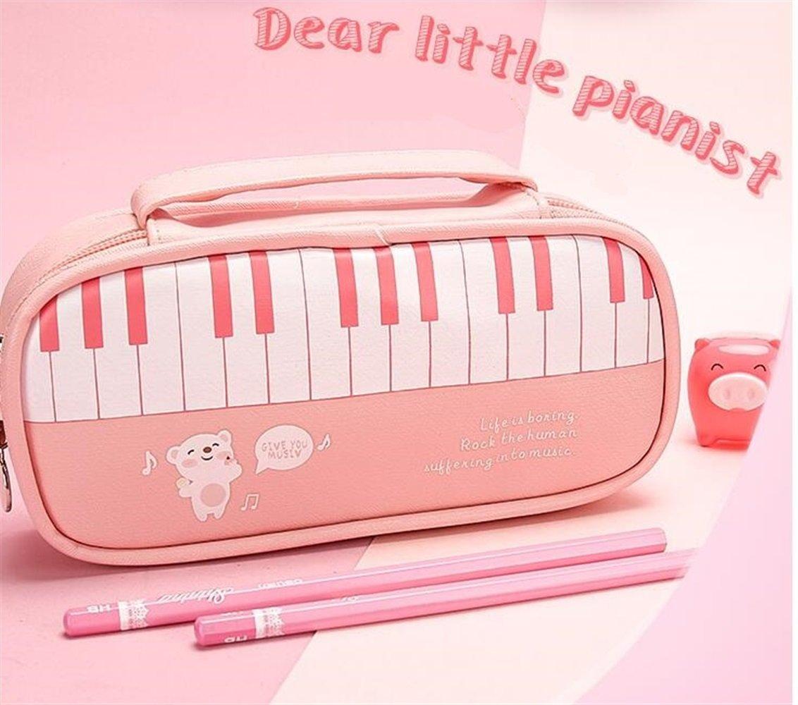 Uso dell'allievo della cancelleria della scuola Novità Design per pianoforte Grande capacità Astuccio per studenti Pratica cancelleria-Rosa WeieW