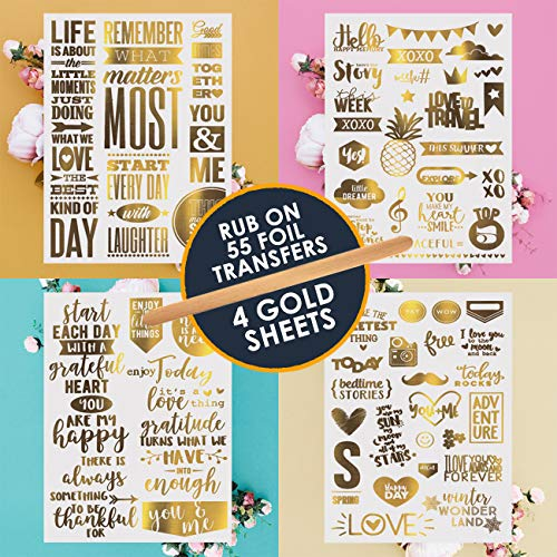Gold Transfer Stickers | Love Stickers For Scrapbooking| Planner Stickers| Scrapbooking Stickers| Stickers for Laptops| Macbook Stickers| Cool Stickers| Inspirational & Motivational Foil Stickers! -
