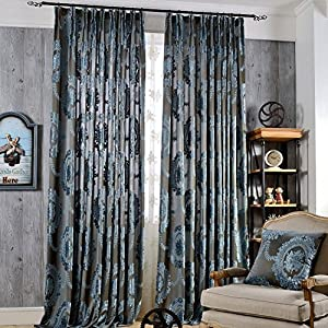 Floral Curtains Living Room Drapes Grommet   KoTing 1 Panel Dark Blue  Curtains European Totem Net Yarn Flower Pattern Drapes 100 Inch Long Extra  Length Part 62