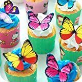 Butterfly cake Toppers 100Pcs Set, GUGUJI Chocolate Mousse Cake Cupcake Toppers Decoration (4 Patterns X 25)
