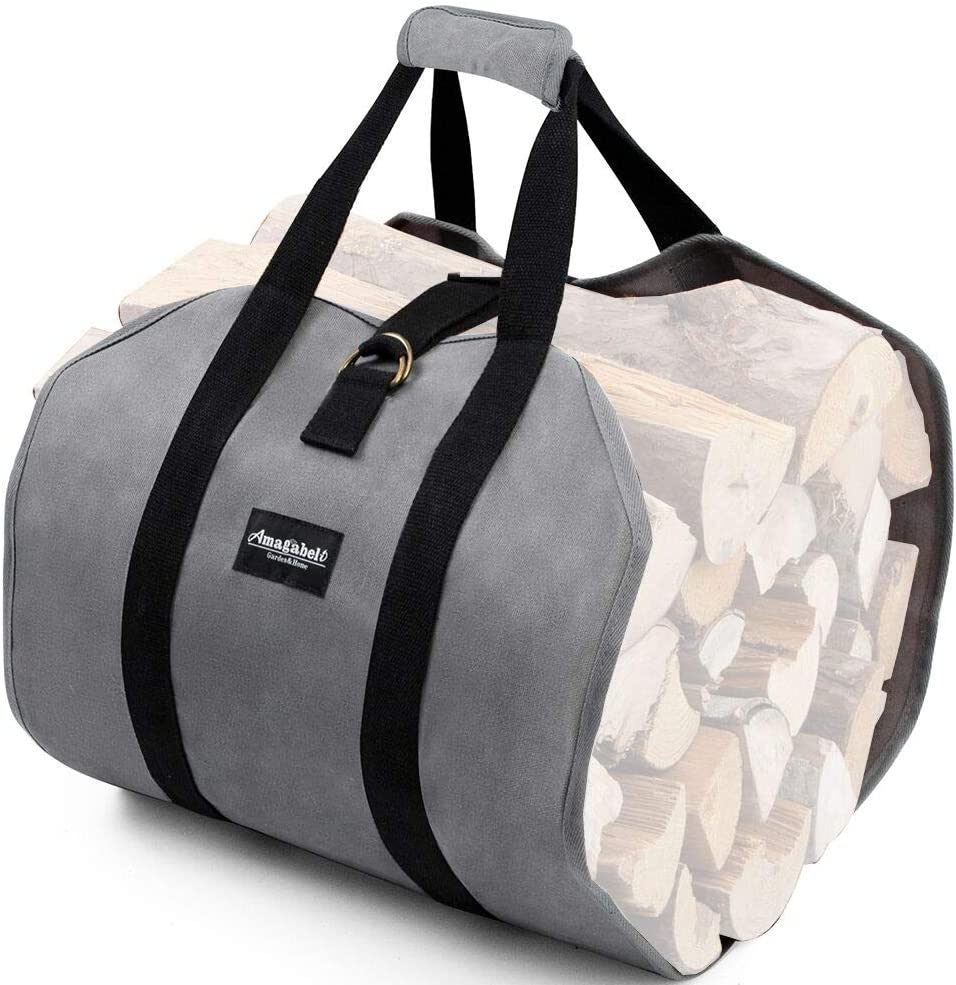 Amagabeli Firewood Carrier Tote Waxed Canvas Log Tote Carrying Bag Wood Carrier Bag with Handles Security Strap for Camping Indoor Firewood Logs Tote Log Holder Birchwood Stand Gray