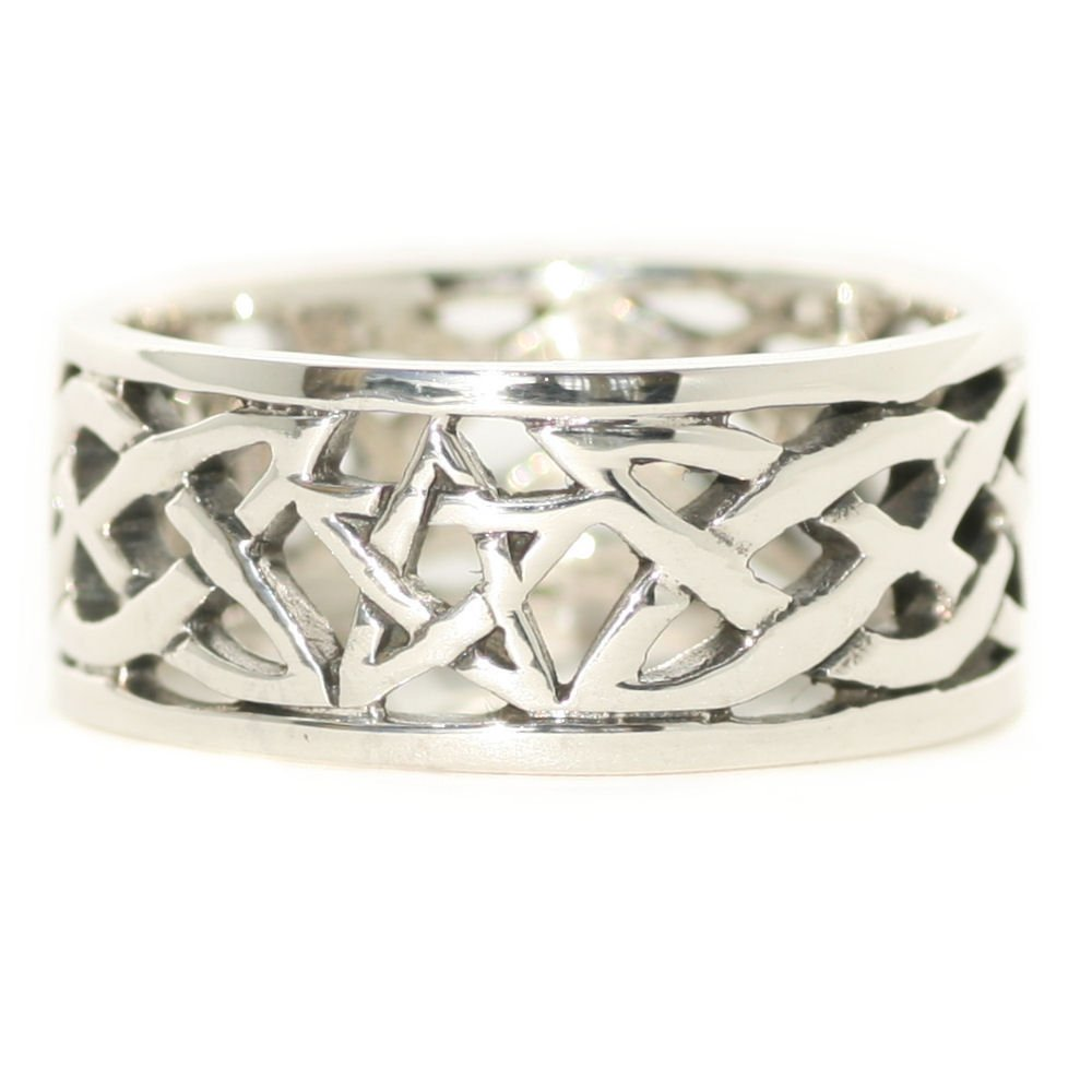 Solid Sterling Silver Pentagram Celtic Knot Pagan Wiccan Finger Ring Band R022
