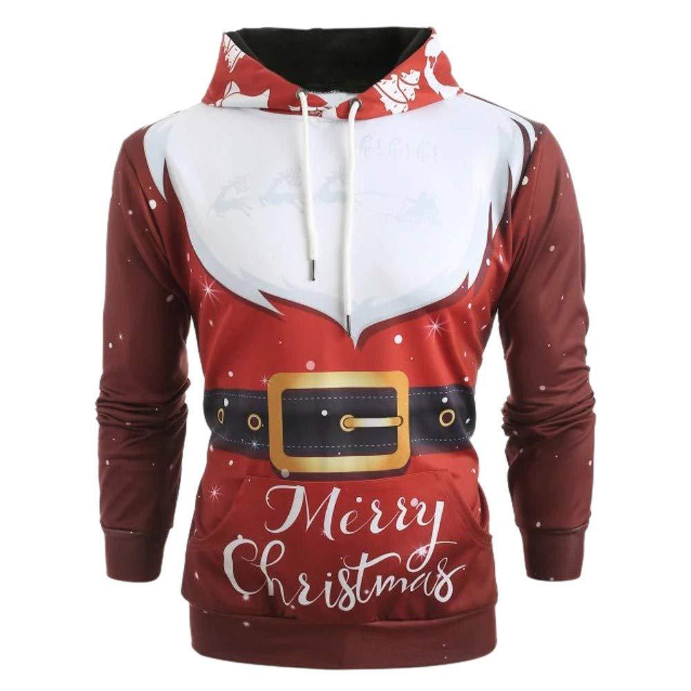 メンズ クリスマスパターン 3Dプリント プルオーバー 冬用 長袖 ポケット レッド フード付きキャップ スウェットシャツ B07KJF6MHX レッド L