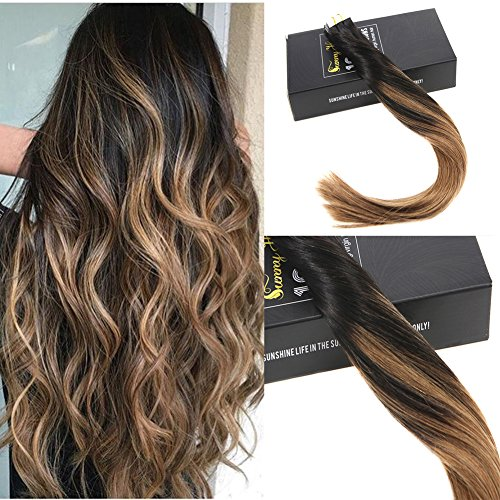 "Sunny 22"" Real Hair Ombre Balayage Tape in Hair Extensions #1b Fading to Medium Brown Full Head Skin Weft Glue in Hair Extensions 20pcs 50g/pack"