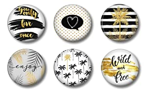 Palm Tree Magnets Black and Gold - Cute Locker Magnets For Teenage Girls - Whiteboard Office or Fridge - Funny Magnet Gift Set (Black Gold)