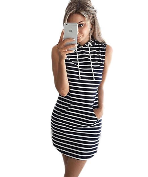 34c6396b6e82 Mansy Women's Summer Sleeveless Stripe Hooded Dress at Amazon ...