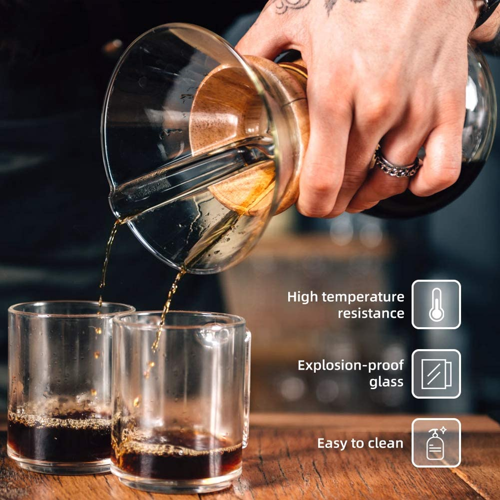 400ml Manual Coffee Dripper Brewer with Stainless Steel Filter Borosilicate Glass Carafe with Real Wood Sleeve Bestcool Pour Coffee Maker No Paper Filters Needed