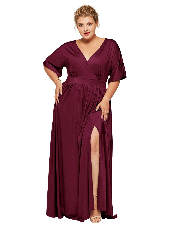 Alicepub Women\'s Plus Size Wrap Dress Short Sleeve Long Casual Work Formal  Evening Dresses, Burgundy, US28