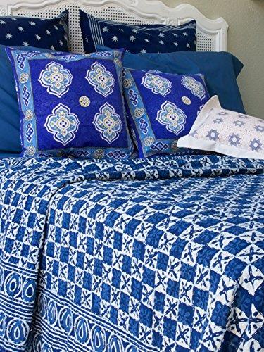 UPC 811696013317, Starry Nights ~ Designer Blue India Batik Quilted King Bedspread 108x90