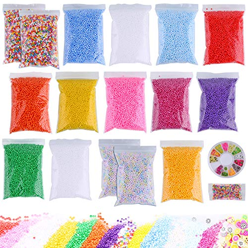 Slime Foam Beads Floam Balls - 18 Pack Microfoam Beads Kit 0.1-0.14 inch (90,000 Pcs) Micro Colors Rainbow Fruit Beads Craft Add ins Homemade DIY Kids Ingredients Flote Microbeads Supplies Mini Small