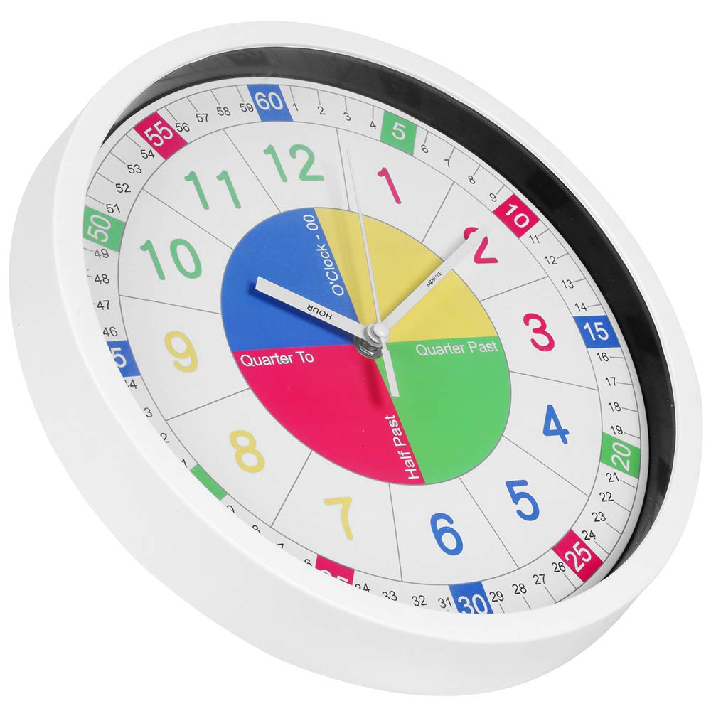 Teaching Clock for Kids Learning Teaching Clock Best Educational/Wall Clock to Teach Time 12 Inch Silent Non-Ticking Quartz Decorative/Wall Clock for Teachers Classrooms or Childrens Bedrooms