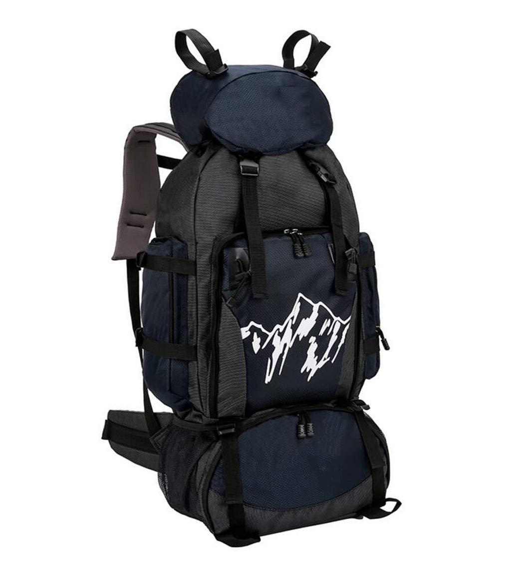 JSHFD アウトドア登山バッグ メンズ レディース ウォーキングバックパック 旅行バッグ 大容量 キャンピングバッグ 90L  ブルー B07GCLRHN5